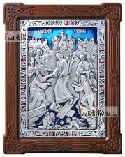 Воскресение Христово, икона из серебра с эмалью, артикул 13162