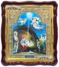 Рождество Христово, аналойная икона в фигурной рамке