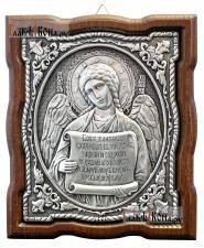 Серебряная икона Ангела Хранителя с молитвой, артикул 11194