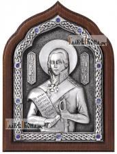 Праведный Феодор Ушаков, икона серебряная со стразами, артикул 11195