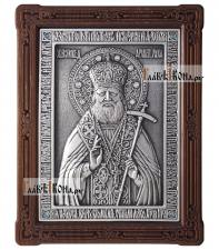 Лука Крымский, икона серебряная в деревянной рамке, артикул 11199