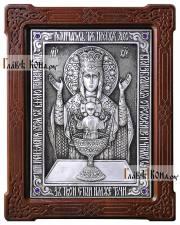 """11201 Серебряная икона с образом Божией Матери """"Неупиваемая Чаша"""". артикул 11201"""