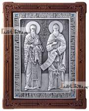Святые Кирилл и Мефодий, серебряная икона артикул 11204