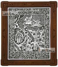 Святой Илья Пророк, икона серебряная подарочная артикул 11208
