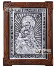 """Серебряная икона """"Милостивая"""" Божия Матерь (Киккская), артикул 11212"""