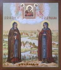 Икона Петра и Февронии с живописным пейзажем