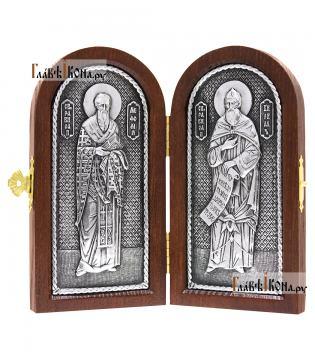 Складень с образами святых Кирилла и Мефодия, серебро, артикул 11214