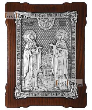 Большая серебряная икона Петра и Февронии, артикул 11220