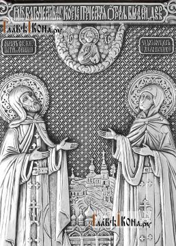Большая серебряная икона Петра и Февронии, артикул 11220 - детали сюжета