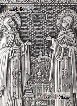 Петр и Феврония, серебряная икона в деревянном киоте артикул 11222 - детали сюжета