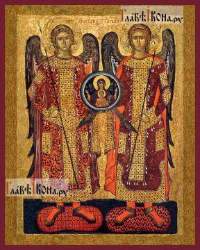Михаил и Гавриил архангелы, старинный стиль, печатная на дереве икона
