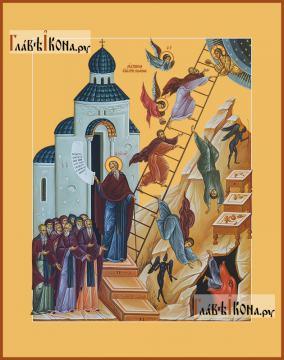 Лествица Иоанна Лествичника, печатная на дереве икона