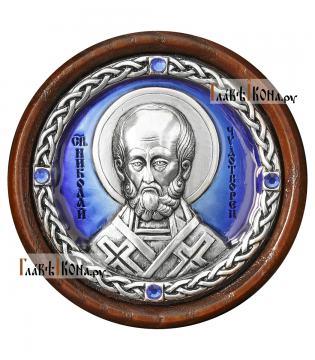 Икона-медальон в машину с образом Николая Чудотворца, артикул 13223 - цвет синий