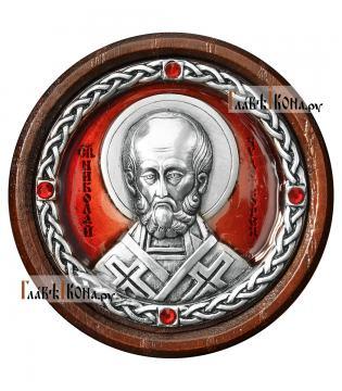 Икона-медальон в машину с образом Николая Чудотворца, артикул 13223 - цвет красный