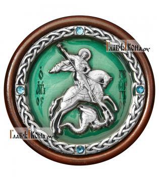 Икона-медальон в машину с образом великомученика Георгия - зеленая эмаль