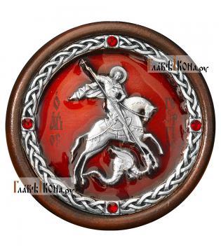 Икона-медальон в машину с образом великомученика Георгия - красная эмаль