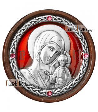 Серебряная автоикона с образом Казанской Божией Матери - красная эмаль