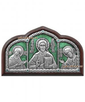 """Тройник в машину """"Деисус"""" (серебро. сразы), 10х6 см, зеленая эмаль"""