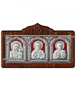 Серебряный тройник для машины на панель (малый), артикул 13045 - красная эмаль
