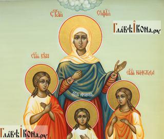 София, Вера, Надежда, Любовь, писаная икона, палех артикул 431 - лики святых