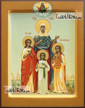София, Вера, Надежда, Любовь, писаная икона, палех артикул 431