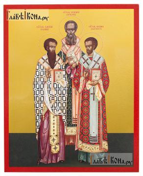 """Василий, Григорий, Иоанн святители (""""Три святителя""""), икона печатная на дереве"""
