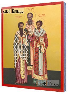"""Василий, Григорий, Иоанн святители (""""Три святителя""""), икона печатная на дереве  - вид сбоку"""