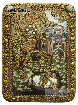 Чудо Дмитрия Солунского о царе Калояне, подарочная икона под старину