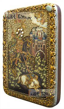 Чудо Дмитрия Солунского о царе Калояне, подарочная икона под старину - вид сбоку