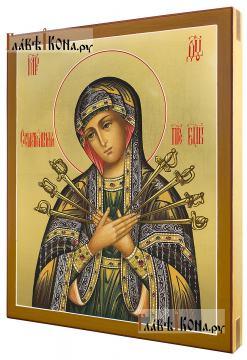 """Божия Матерь """"Семистрельная"""", писанная икона с золочением - вид сбоку"""