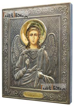 Ангел Хранитель, икна печатная в окладе с классическим рисунком - вид сбоку