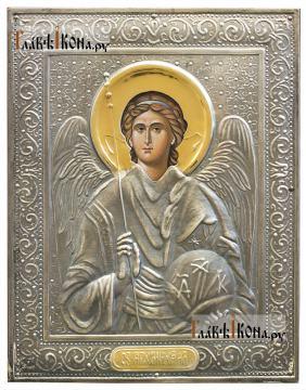 Архангел Михаил, икона печатная в окладе с классическим рисунком