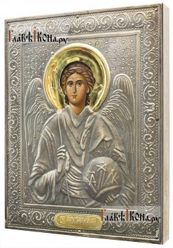 Архангел Михаил, икона печатная в окладе с классическим рисунком - вид сбоку
