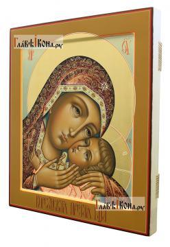 Корсунская икона Божией Матери в стиле палеха - вид сбоку