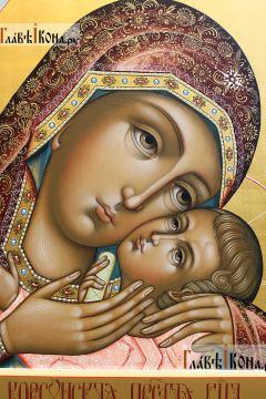 Корсунская икона Божией Матери в стиле палеха - детали Образа