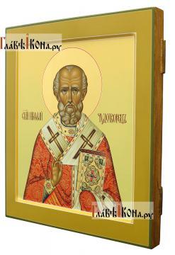 Икона святого Николая Чудотворца (палех), артикул 543 - вид сбоку