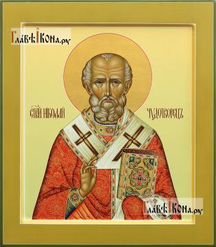 Икона святого Николая Чудотворца (палех), артикул 543