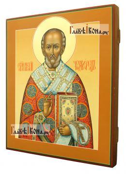 Икона Николай Чудотворец, артикул 531 светлый фон - вид сбоку