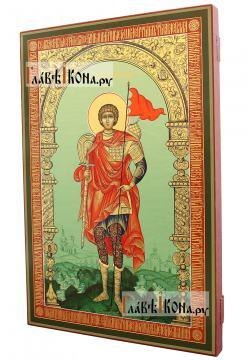 Георгий Победоносец (ростовой), писаная икона (палех) - вид сбоку