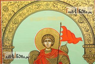 Георгий Победоносец (ростовой), писаная икона (палех) - детали образа