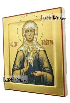 Матрона Московская, рукописная икона, палехский стиль - вид сбоку