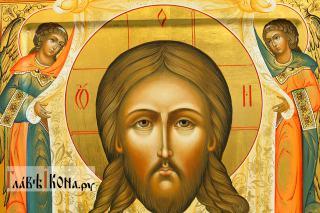 Спас Нерукотворный (с Ангелами), рукописная икона, артикул 636 - детали Образа