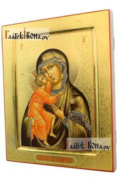 Икона Феодоровская с резьбой по левкасу, артикул 290 - вид сбоку