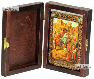 Вход Господень В Иерусалим, икона подарочная в футляре, 10х15 см - вид в комплекте