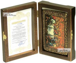 Тайная Вечеря, икона подарочная в футляре, 10х15 см - вид в комплекте