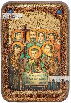 Царственные страстотерпцы (поясные), икона подарочная в футляре, 10х15 см