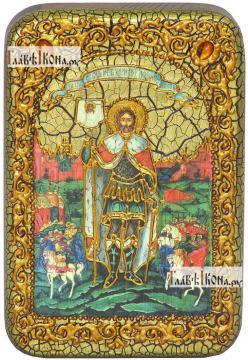 Александр Невский, благоверный князь, икона подарочная в футляре, 10х15 см