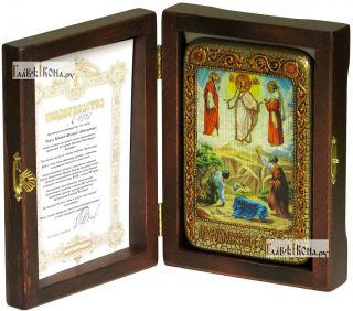 Преображение Господня, икона подарочная в футляре, 10х15 см - вид в комплекте
