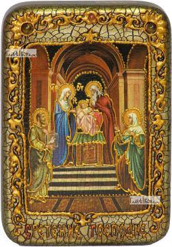 Сретение Господня, икона подарочная в футляре, 10х15 см