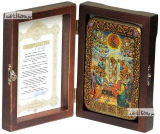 Успение Пресвятой Богородицы, икона подарочная в футляре, 10х15 см - вид в комплекте